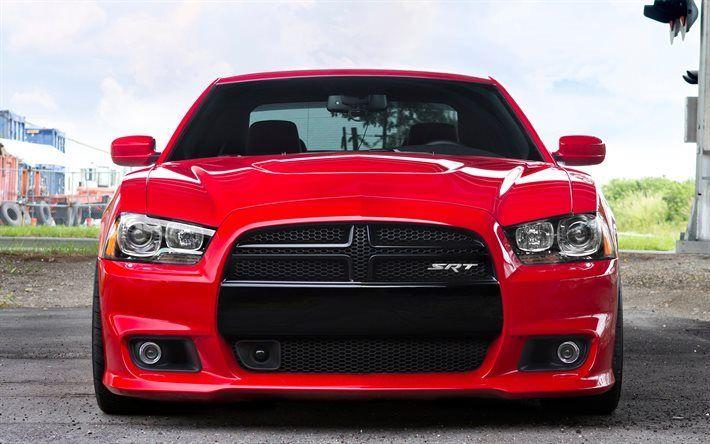 Scarica sfondi La Dodge Charger SRT, vista frontale, al 2017, auto, rosso, caricabatterie, supecars, Dodge