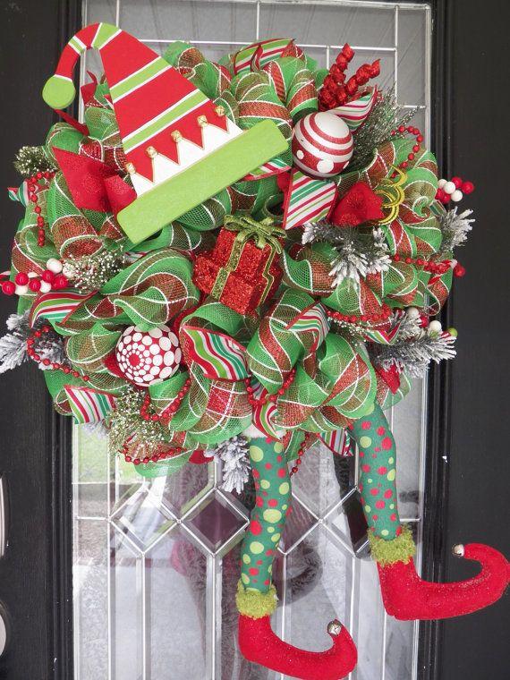Christmas Wreath, Christmas Elf Wreath, Christmas Door ...