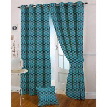 Presto Jacquard Blue Eyelet Curtain