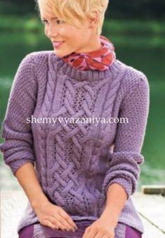 Пуловер с центральным узором из кос
