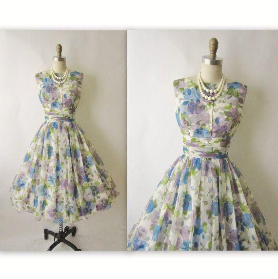 50s Floral Dress // Vintage 1950s Floral by TheVintageStudio, $124.00