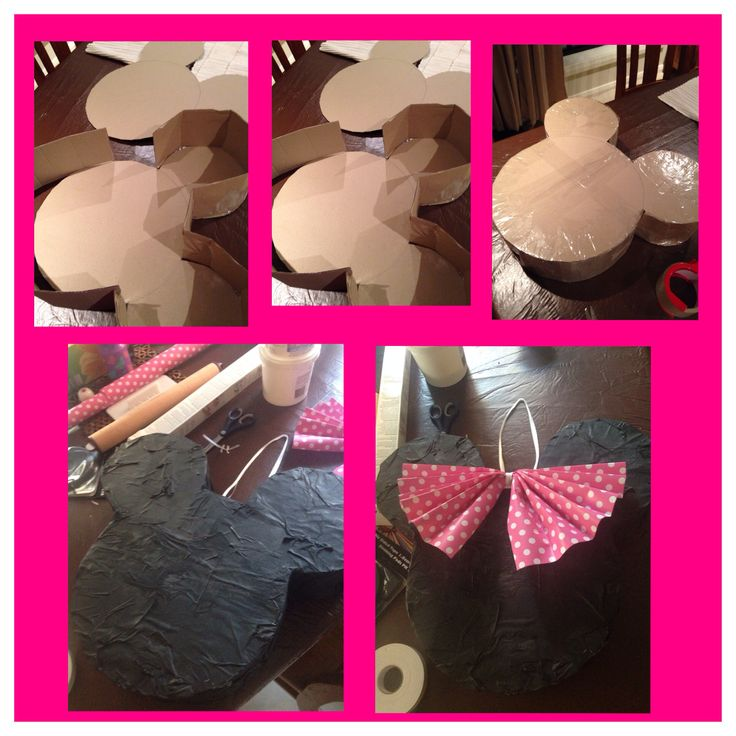 How to make a minnie mouse pinata using recycled cardboard.