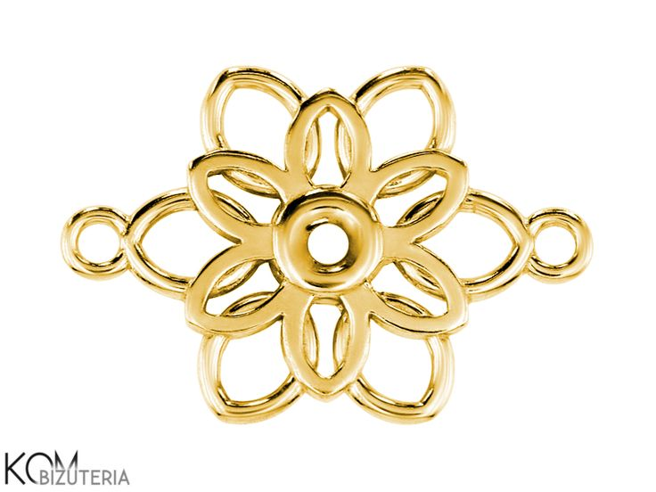 Flower / snowflake W 101 - gold-plated silver pendant, charm. Gold-plated silver pendant/charm in a shape of a flower or a snowflake. Ideal for necklaces, bracelets and earrings.