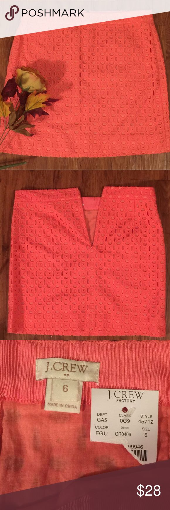 """J.Crew Factory Peach Eyelet Lace Mini Skirt J.Crew Factory Peach Eyelet Lace Mini Skirt BRAND NEW with tag. Size 6 measure flat approx 15"""" across waist, 19"""" across hips & 16"""" Long. Back of skirt has a zipper to zip up! 100% cotton!! HappyPoshing J. Crew Factory Skirts Mini"""