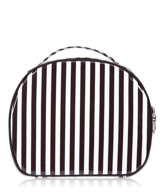 LOVE HB cosmetic bags! brown & white stripe beauty train case - cosmetic bag - designer cosmetic cases