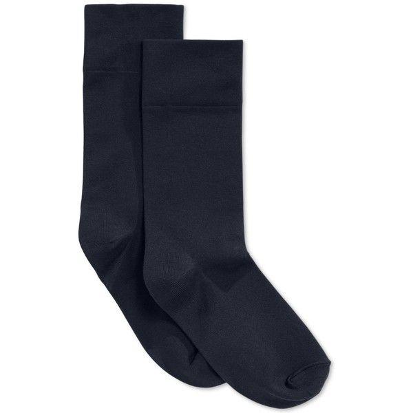 Hue Women's Ultra Smooth Socks ($7) ❤ liked on Polyvore featuring intimates, hosiery, socks, navy, hue hosiery, navy socks, hue socks, navy blue socks and double layer socks
