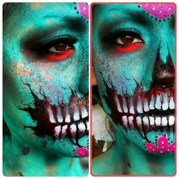 Halloween makeup skull zombie