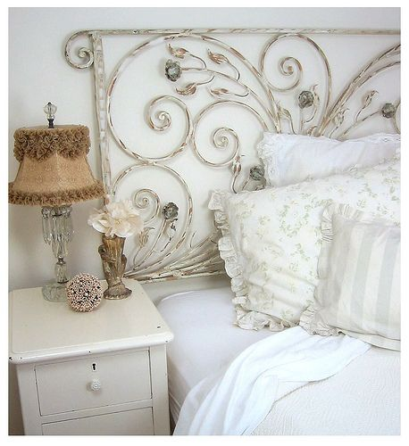 Headboard: Shabby Chic, Headboards, Wrought Irons Gates, Head Boards, White Decor, Bedrooms, Guest Rooms, Porches Railings, Sweet Dreams
