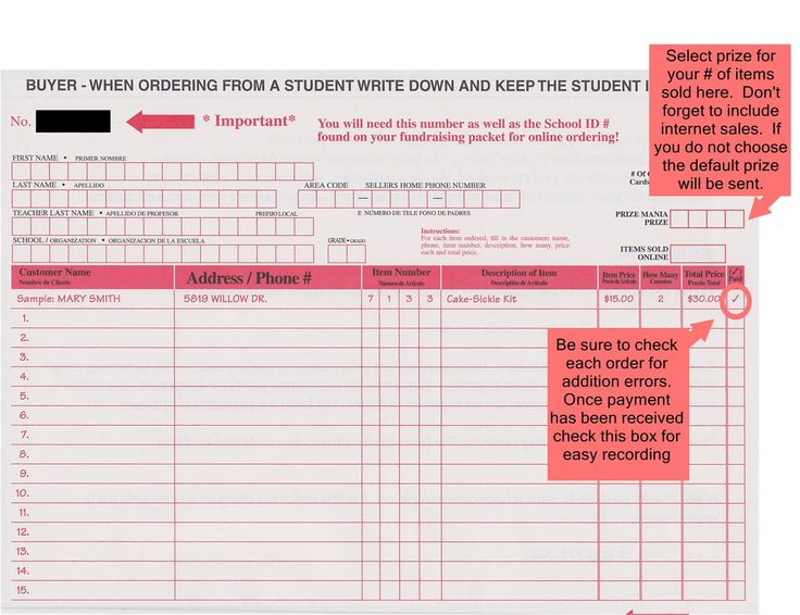 Printable fundraising order form template fundraising for Pizza order form template