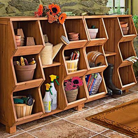 Hoover Storage Cubby   Gardening Tools Organized With This Stackable Fir Wood  Storage Cubby, Featuring
