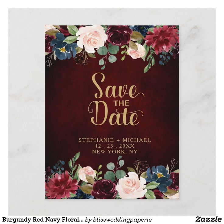 Burgundy Red Navy Floral Rustic Boho Save the Date Announcement Postcard Waterco…