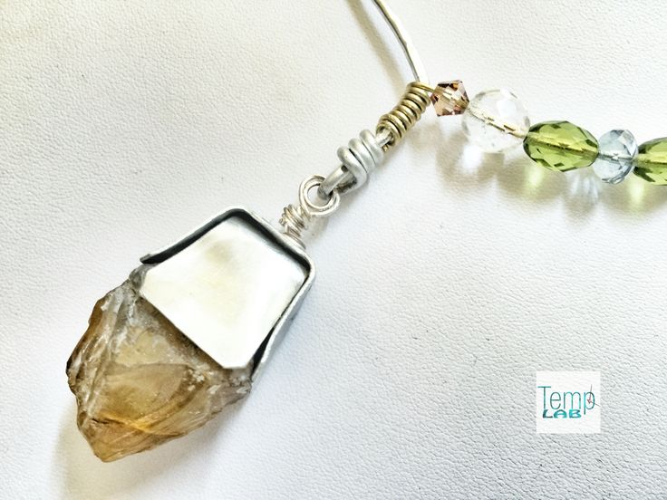 Aluminum, jade & crystals necklace