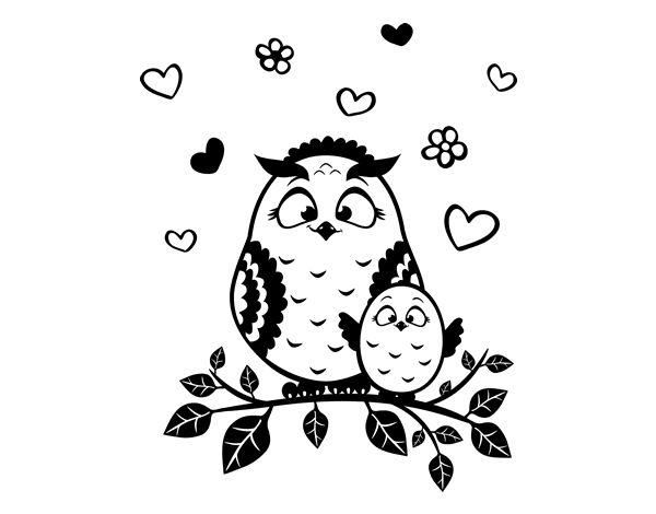 Dibujos De Buhos Para Imprimir Y Colorear: Dibujo De Mamá Búho Para Colorear