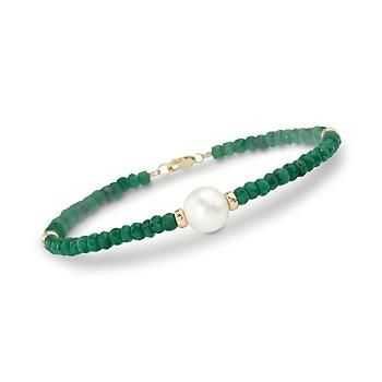 This emerald beaded bracelet creates quite an impression! It shines and glitters in the light. The freshwater pearl adds elegance. The 14kt yellow gold beads lend substance. All at an incredible price. >>Click on the emerald bracelet to see more May Birthstone Jewelry styles.
