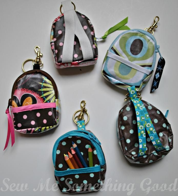 (9) Name: 'Sewing : Mini Back Pack Coin Purse and Key Chain