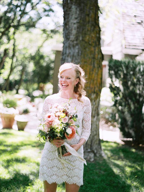 Short lace Tibi wedding dress.  Photo Leo Patrone.