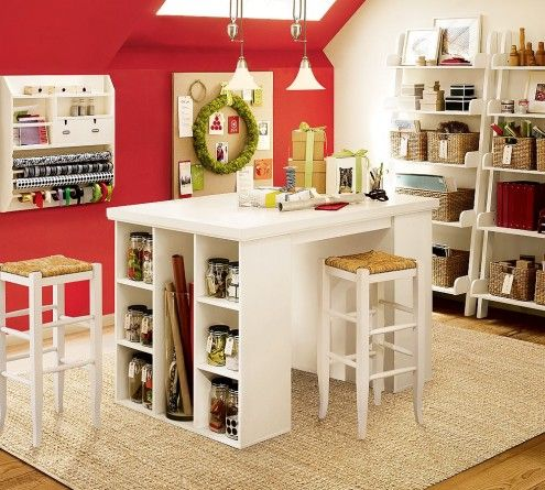 I like this desk..yes, it would work for me, if I had a craft room.Scrapbook Room, Studios Design, Decor Ideas, Red Wall, Crafts Spaces, Crafts Room, Crafts Tables, Home Offices, Craft Rooms