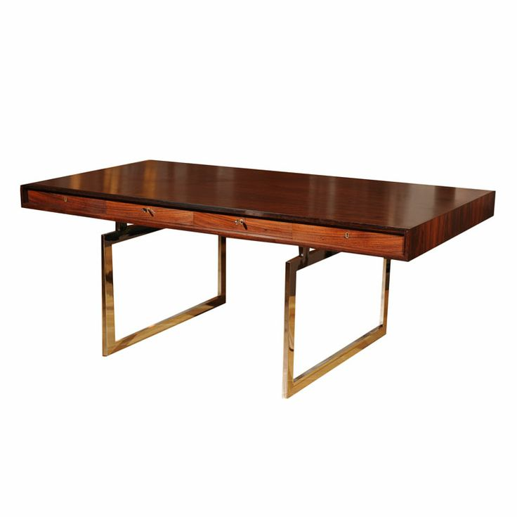 Bodil Kjaer-Desk - A desk with three drawers produced by E. Pedersen & Sons, made of rosewood and chrome-plated steel