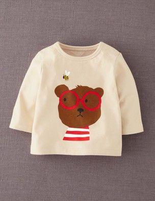 Shirt in Karamell mit Bär Aufdruck: 14,00 €