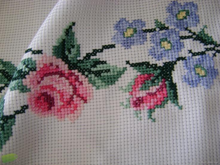 Kanaviçe runner,Güller ve Kelebekler
