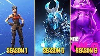 evolution of fortnite battle pass skins season 1 season 6 - evolution of fortnite skins