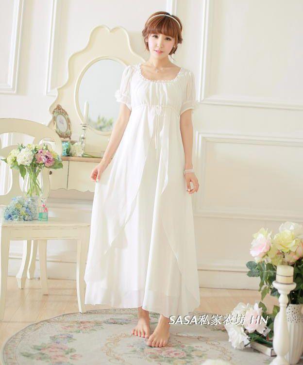 Vintage+Nightgowns+for+Women | Free-Shipping-High-Quality-Chiffon-Nightgowns-Long-Pajamas-White-Women ...