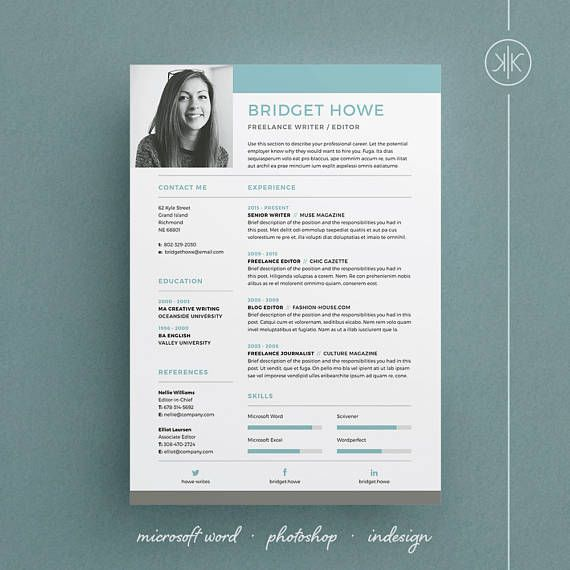 Bridget Resume/CV Template | Word | Photoshop | InDesign | Professional Resume Design | Free Cover Letter | Instant Download | Teacher Resume