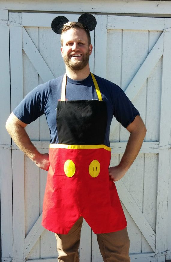 "Adult/ Teen MICKEY MOUSE Mens Disney inspired Costume Apron. Fits sizes 28""-42"" Cartoon Birthday Party Prop BBQ Grill Gift Disneyland outfit"