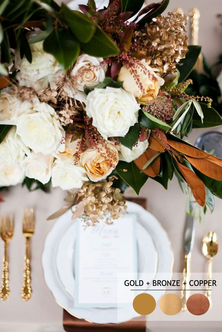 Bronze Copper Gold | 18 Fall Wedding Color Palettes - autumn wedding colour combinations | http://www.fabmood.com/18-fall-wedding-color-palettes/