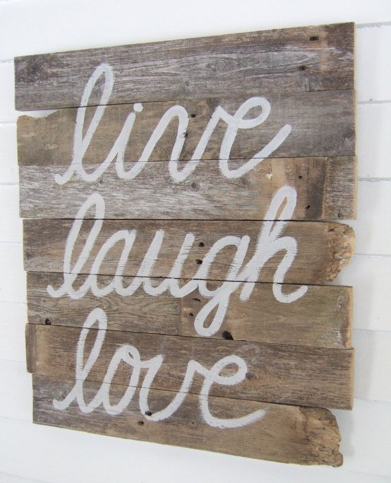 Live laugh love wood wall decor by jennyelkinshandmade on for Live laugh love wall art