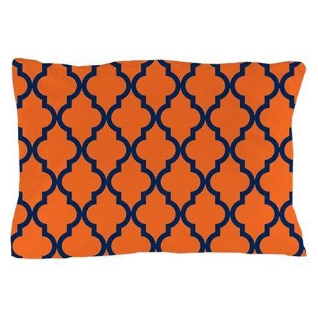 Moroccan Pattern: Navy Blue & Orange Pillow Case on CafePress.com