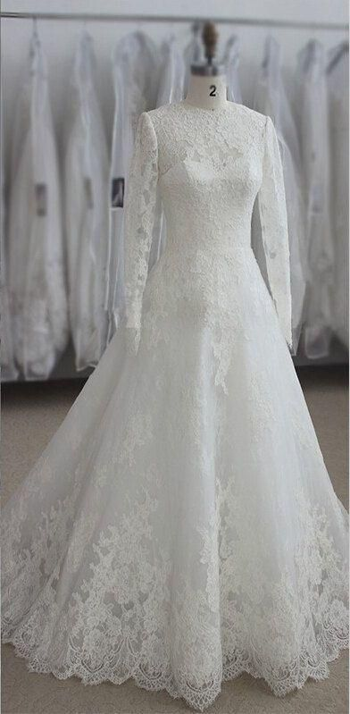 Real Sample Muslim Long Sleeve Wedding Dresses Lace Appliques Customize White Ivory Bridal Dress Appliques Sweep Train Bridal Dress Long from First_lady_dress,$136.84 | DHgate.com