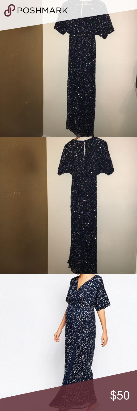 Cool Maternity Dress Asos Sequin Maxi Kimono Dress Midnight blue with silver sequins, this dress is a... Check more at http://mydresses.ga/fashion/maternity-dress-asos-sequin-maxi-kimono-dress-midnight-blue-with-silver-sequins-this-dress-is-a/