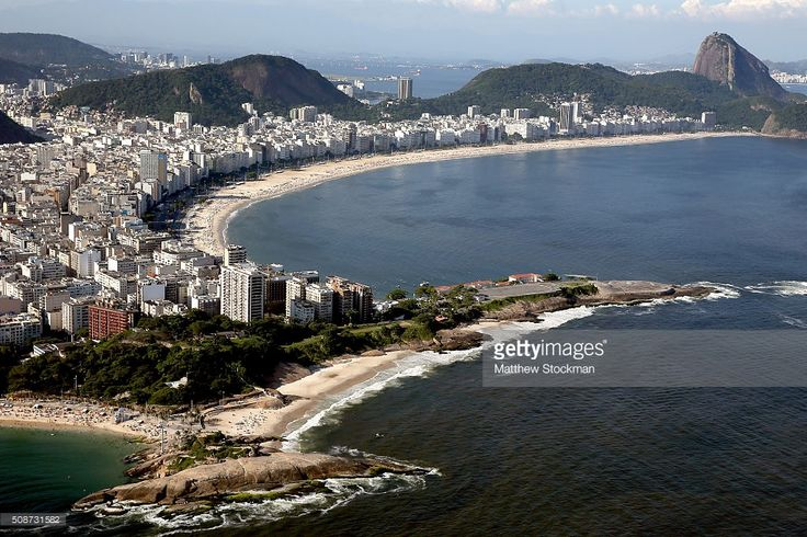 Aerial view of Fort Copacabana and Copacabana Beach with six months to go to the Rio 2016 Olympic Games on February 5, 2016 in Rio de Janeiro, Brazil. Copacabana Beach will host the beach volleyball competition. Fort Copacabana will host the marathon swim, road cycling and triathlon competitions during the Rio 2016 Olympic Games.