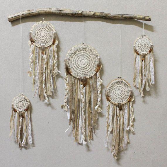 crochet doily + lace dream catcher installation (3 or 5 dream catchers)