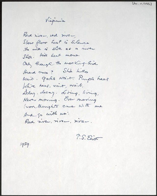 T.S. EliotPurple Trees, Eliot Manuscritos, De Virginia, Art Appreciation, Historical Manuscript, Handwritten Manuscript, Music Meander, Bookish Iii, Handwriting Samples