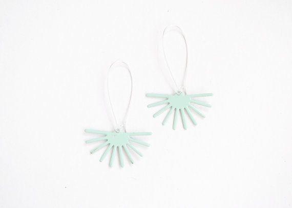 Mint earrings enamel earrings pastel green by elfinadesign on Etsy