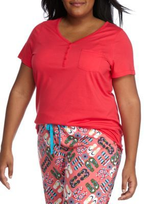New Directions Coral Casa Plus Size Short Sleeve Henley Tee