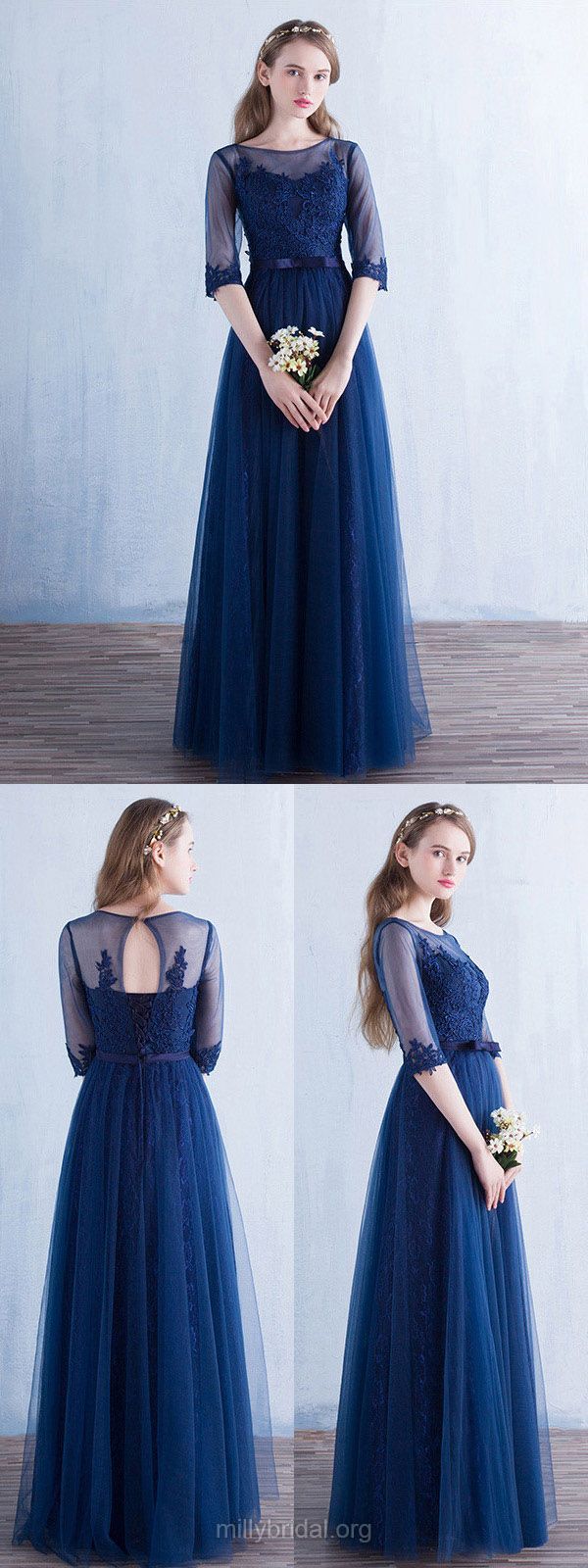 Blue Prom Dresses Long, 2018 Formal Dresses Lace, A-line Party Dresses Scoop Neck, Tulle Evening Gowns 1/2 Sleeve
