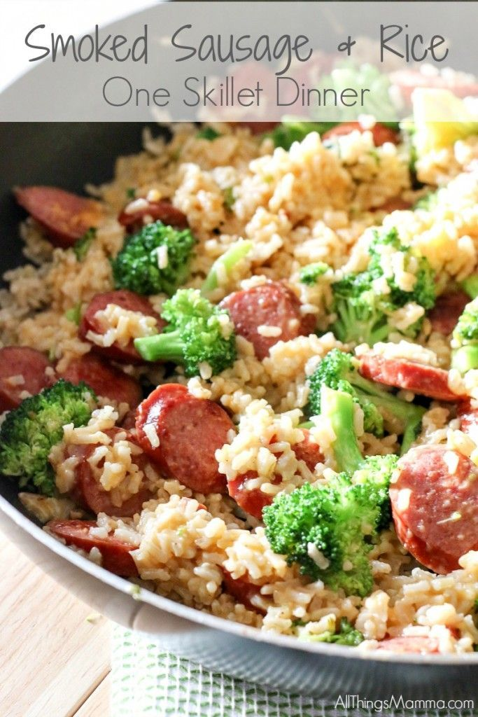 For an easy and quick weeknight meal solution, this Smoked Sausage & Rice One Skillet Dinner Recipe is ready in under 30 minutes and sure to be a hit!    #CreateYourDeliciousSkillet
