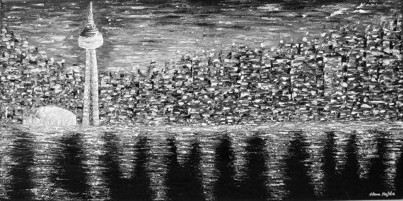 Toronto. Cityscape Modern Original Abstract Art by ArtbyElenaHajda, $500.00