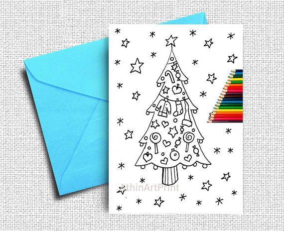 Coloring Cards Christmas Card Kids Coloring Xmas Tree Card