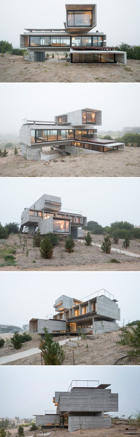 Architect Luciano Kruk designs a house made of three stacked forms of rough unfinished concrete overlooking a golf course in Argentina