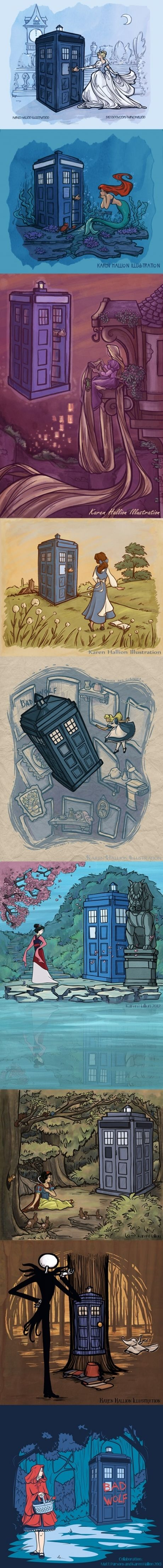 Different cartoon characters becoming the Doctor's companion. <3  I would totally ship Belle becoming a companion not only because she's my favorite Disney princess, but also because she has the greatest weapon of all time...books...in a huge library!