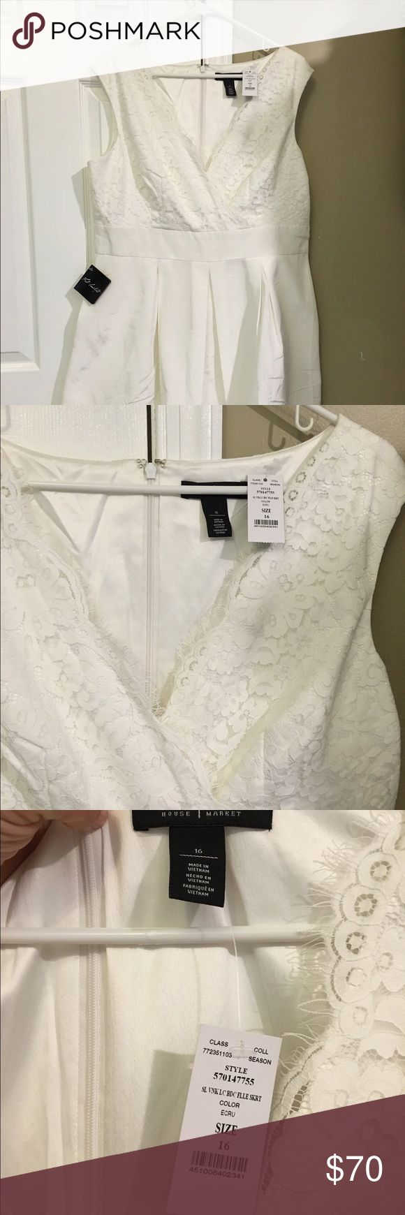 ⚡PRICE DROP⚡️ WHBM lace crossover w/ POCKETS! Temporary price drop! NWT WHBM white dress with lace crossover top. A-line dress with pockets! Great wedding dress for a casual bride or for summer parties! White House Black Market Dresses