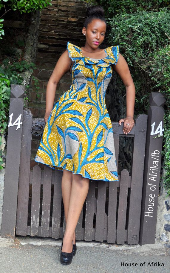 African print mustard coloured dress with a bold by HouseofAfrika