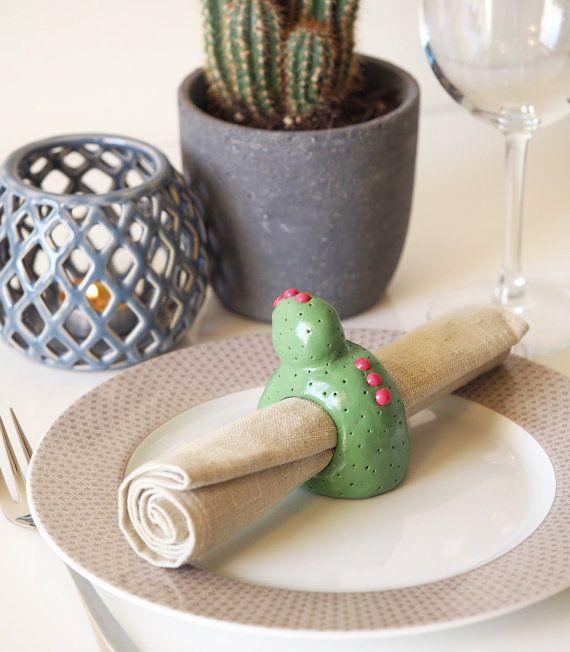 Cactus napkin holders set of 6 Clay napkin por paintmydream