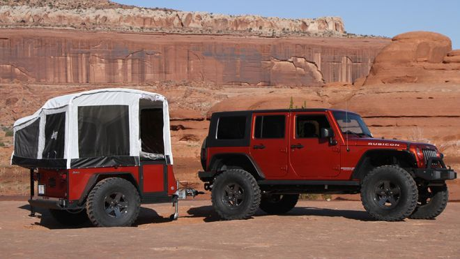 Coolest pop-up camper ever. Tow behind a JEEP, 360-degree hitch available, carry a 450-pound payload on top when closed. Queen-sized bed and couch with table inside. | Fox News