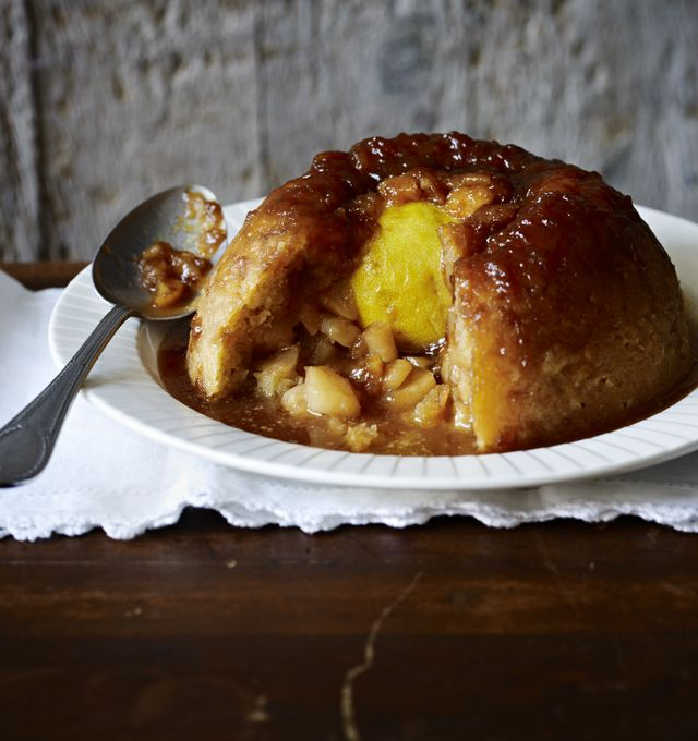 Sussex pond pudding with apples - it's no looker, but this traditional suet pudding is filled with an amazing buttery lemon sauce.