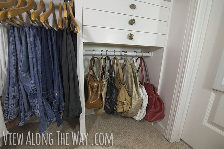 Create purse storage with shower curtain hooks! Check out all the creative closet ideas at this link!